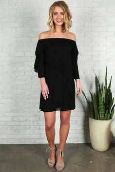 c5881fc10 Give Me A Beat Off Shoulder Dress in Black