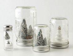 Mason jar snow globes Salt shaker snow globe