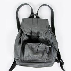 vtg 80s 90s grunge GREY LEATHER small BACKPACK rucksack sling shoulder bag purse $68.00