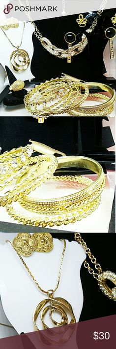 Classy Goldtone Jewelry Lot Lots of nice items including statement necklace and pendentbnecklace. 1 ring .3 sets of earrings and bangle bundle NWT Pier 1 imports pier 1 Jewelry