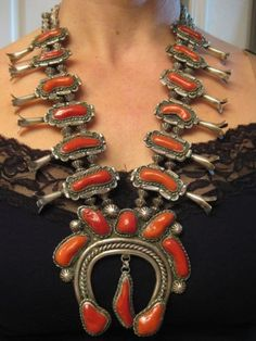 Massive Museum Vintage Navajo Coral Fluted Bead Sterling Squash Blossom Necklace | eBay