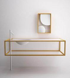 WOOD DESIGN BLOG || BATHROOM VANITIES, SINKS & CABINETS || Beyond cabinetry wood has been used as cabinet, sink and vanity in contemporary bathroom design || Nendo bathroom furniture bisazza bagno