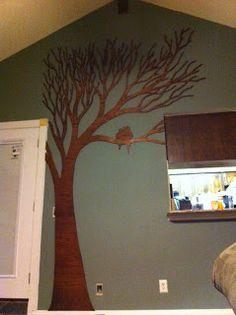 Tree wall art - painted plywood