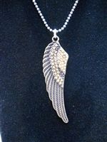 Unique Angel Wing charm necklace with chain.