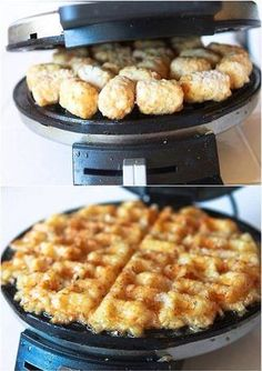 """Tater tot waffles: amazing, crispy, simple to make. Bonus: sprinkle on old bay seasoning before cooking (""""Crab-cakes and football; that's what Maryland does!"""")"""