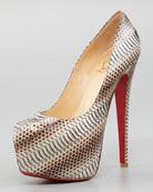 Daffodile Snakeskin Red Sole Platform Pump, Stone by Christian Louboutin