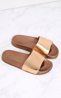865d8dc53a37 Brigette Rose Gold Sliders Holiday Shoes