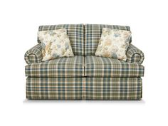 Create a welcoming atmosphere in your traditional home with the Clare sofa. This style, covered in your choice of our plaid and stripe fabrics, features a dressmaker skirt, rolled panel arm, and four throw pillows. For maximum style impact, pair it with the matching loveseat, chair, gliding chair, and/or ottoman. If you like the style, but don't love plaids or stripes, take a look at Cambria.