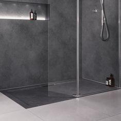 Mira Flight Level Rectangular Shower Tray Slate Effect - 1600 x with Waste Non Slip Bathroom Flooring, Slate Bathroom, Loft Bathroom, Bathrooms, Slate Shower, Shower Floor, Rectangular Shower Enclosures, Clean Technology, Easy Jobs