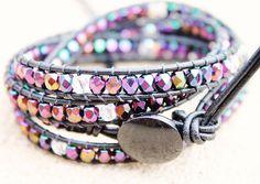 Purple beaded leather wrap bracelet - Chan Lu inspired
