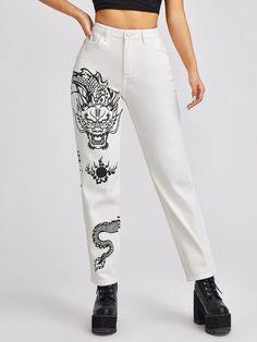 Painted Jeans, Painted Clothes, Stylish Dress Designs, Stylish Dresses, Jeans Tumblr, Romwe, Dragon Print, Cute Pants, Denim Fabric