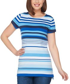 Blue & White Engineered Stripe Top - Plus Too