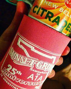 Pink coozies just make beer taste better! #newbelgium #ipa #sunsetgrillestaugustine #ilovecitrus  @newbelgium @sunsetgrille @staugustinebuzz @staugsocial @staugfoodieadventures by jennkayebarnes