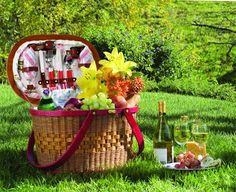 Classic picnic essentials. Wine. Cheese and fruit.