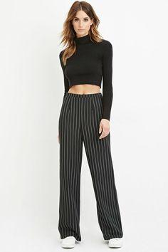 Pinstripe Wide-Leg Pants