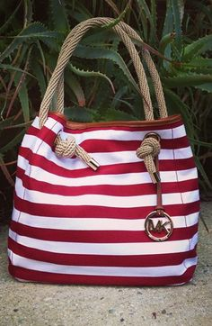 "Getaway bag: Nautical MICHAEL Michael Kors ""Marina"" tote."