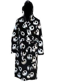 Nightmare Before Christmas - Jack Bathrobe        Black soft fleece        Hooded gown        All over Jack Skellington face design