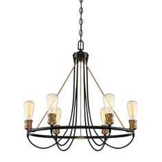 Features: -Bendooragh collection. -Number of lights: 6. Product Type: -Candle-Style chandelier. Finish: -Black; bronze. Material: -Metal. Number of Lights: -6. Wattage: -60 Watts. Bulb Type: -