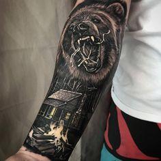 "Galeria Tattoo on Instagram: ""Tattoo por @dylanwebertattoos ! Tatuadores(as), usem a hashtag #galeriatattoo ! . . . #realismo #beartattoo #tattoo #urso #blackink #details #skill"""