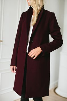 Burgundy coat from MLE Collection. So elegant!