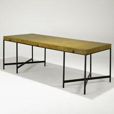 Edward Wormley; Karelian Burl and Bronze Custom Desk by Dunbar, 1960s.
