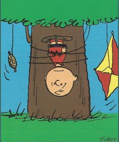 A personal favorite from my Etsy shop https://www.etsy.com/listing/272025448/charlie-brown-in-a-tree-with-his-kite