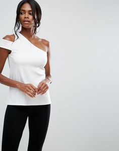 ASOS Top in Ponte with One Shoulder Tab