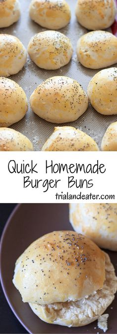 Delicious homemade burger buns mixed, raised and ready in under an hour!