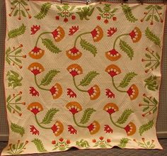 Mint 'Patriotic Eagle and Coxcomb' Antique Applique Quilt Red Green Cheddar | eBay