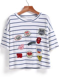 Blue Short Sleeve Striped Logo Pattern T-Shirt 10.83