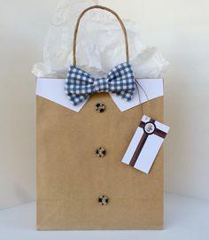 Gingham Light Blue Bowtie Gift Bag