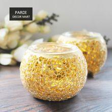 Colore oro Mosaico di vetro supporto di candela Aroma Burner tea light holder decorazione della casa relax 1 pz/lotto(China (Mainland))