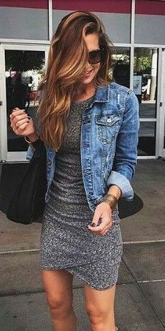 #fall #fashion / gray dress + denim shirt #casualdresses