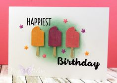 card ice cream popsicle lollies sweet treats birthday greetings Nicole Wilson Independent Stampin' Up!® Demonstrator - Onstage Live Brisbane Display Board Sample using Cool Treats stampset and the frozen Treats Framelits. www.facebook.com/NicoleWilsonStamp #stampinup #onstage2016 #brisbanelive