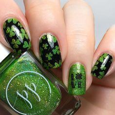 WEBSTA @hanninator St Patrick's Day nails ☘️ . Products used: • Painted Polish Gaga for greenery • Nicole Diary Black Stamping Polish • Shopkeeki LVE water decal • Lina nail art supplies Totally negative 01 . . . St Patricks Day Nails, Nail Art Supplies, Summer Nails, Greenery, Stamping, Decal, Polish, Spring, Water