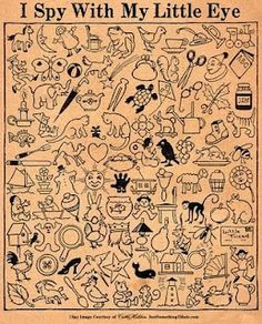 FREE PRINTABLE I SPY SHEET - how quickly can you find the objects? (a visual figure ground activity)