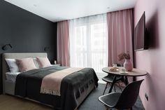 Pink Bedroom Walls, Black Bedroom Design, Black Bedroom Decor, Room Ideas Bedroom, Boutique Hotel Bedroom, Hotel Room Design, Aesthetic Bedroom, Finishing Materials, Young Man