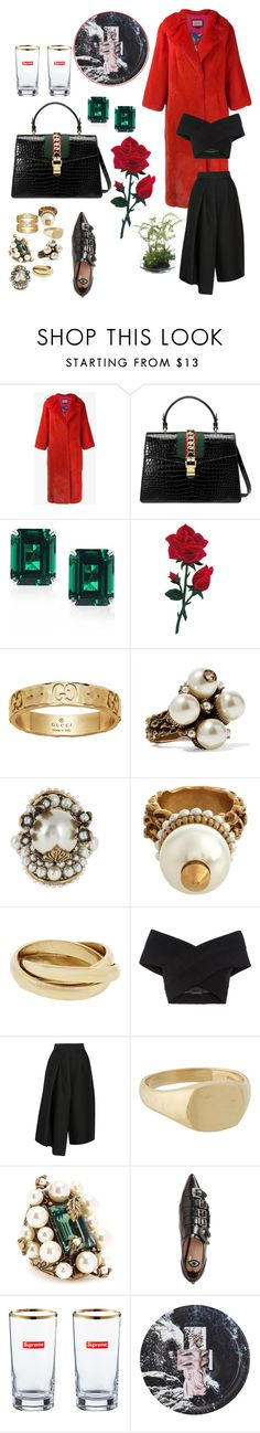 """Rings and reds"" by ekalmansouri on Polyvore featuring Gucci, CARAT* London, Kalmanovich, TIBI, Grace Lee Designs, House Of Voltaire and NDI"