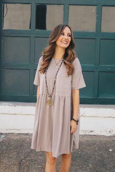 2c54f31157dbd Flowy Dusty Taupe Dress – Deep South Pout Jessica Bowman