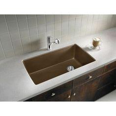 Blanco Diamond Silgranit II Super Single Bowl -Caf Brown Undermount Kitchen Sink #Blanco