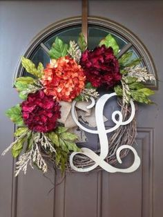 Summer Wreath for Front Door - Red and Orange Hydrangea Wreath with Burlap Bow and Monogram - Grapevine Monogrammed Wreath - Wreath by shelley