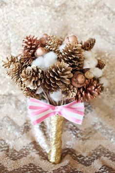 pinecone bouquet // photo by Perez Photography, event design by After Yes http://ruffledblog.com/retro-christmas-wedding-ideas/