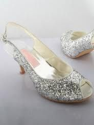 flat wedding shoes silver sparkle open toe - Google Search