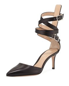 X3MHM Gianvito Rossi Leather Ankle-Wrap d'Orsay Pump