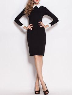 JEAN DAVIS PINTEREST BOARDS Elegant Shirt Collar Color-block Long Sleeve Midi Dress