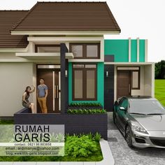 Three Bedroom House Design in 150 Sq. Bungalow House Plans, Small House Plans, Three Bedroom House, Small House Design, Facade House, House Front, Simple House, Minimalist Home, My Dream Home