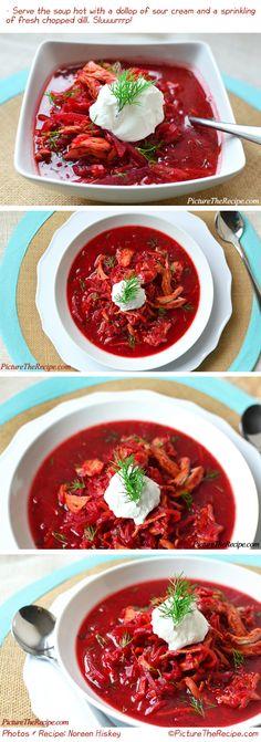 Beet and Chicken Soup (Borscht) by PictureTheRecipe Beet Recipes, Soup Recipes, Healthy Recipes, Recipies, Dinner Recipes, Healthy Soup, Healthy Eating, Italian Chicken Soup, Borscht Soup