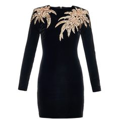 Balmain Long-sleeved palm tree-embellished dress (10,820 PEN) ❤ liked on Polyvore featuring dresses, black, velvet dress, long sleeve black dress, party dresses, long sleeve cocktail party dress and black cocktail dresses