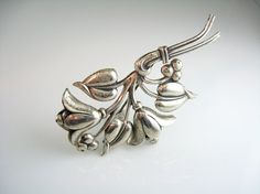 Coro Brooch. Silver Flower Pin. Signed by bohemiantrading on Etsy