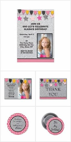 Silver Pink and Yellow Flags Child's Birthday